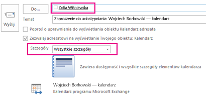 Wiadomość e-mail z zaproszeniem do wewnętrznego udostępniania skrzynki pocztowej — pole Do i ustawienie Szczegóły