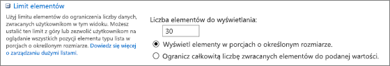 Ustawianie liczby elementów, które mają być wyświetlane na stronie Ustawienia widoku