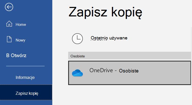 Zrzut ekranu przedstawiający listę lokalizacji na stronie Zapisz jako dokumentu programu Word.