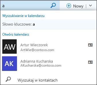 Lista wyszukiwania kalendarza pojawiająca się po wpisaniu czegoś w polu wyszukiwania kalendarza i zawierająca zgodne nazwisko z listy kontaktów lub katalogu.