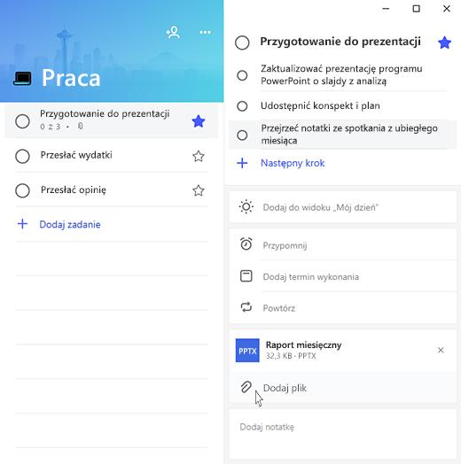 Zrzut ekranu aplikacji Microsoft To-Do przedstawiający otwieranie zadania Przygotowywanie prezentacji i opcję Dodaj plik z wyróżnioną pozycją.