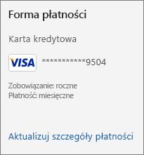 Sekcja Forma płatności na stronie Subskrypcja z linkiem Aktualizuj szczegóły płatności.