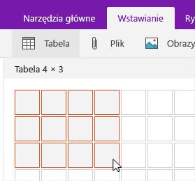 Polecenie Wstaw tabelę z wyświetloną siatką zaznaczenia