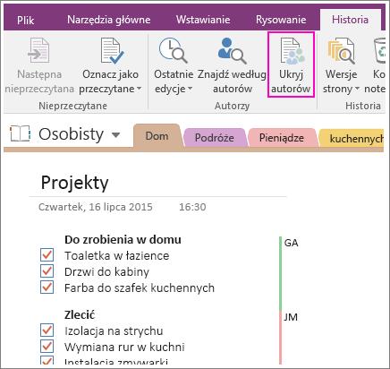 Zrzut ekranu przedstawiający przycisk Ukryj autorów w programie OneNote 2016.