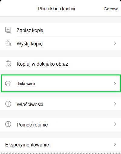 Opcje drukowania w programie Visio Viewer dla systemu iOS.