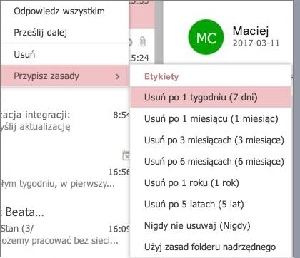 Zrzut ekranu przedstawiający przykładowy zasady przechowywania w grupach w aplikacji Outlook w sieci web