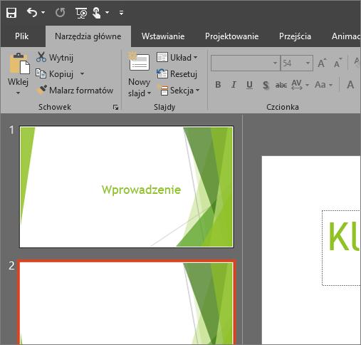 Motyw Czarny w programie PowerPoint 2016 dla systemu Windows