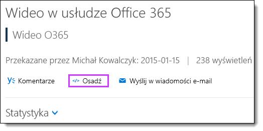Kod osadzania wideo w usłudze Office 365