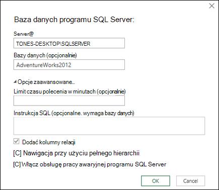 Okno dialogowe połączenie bazy danych zapytania SQL Server Power