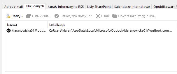 Karta Pliki danych dla ustawień kont programu Outlook z lokalizacjami plików danych programu Outlook dla nazwanego użytkownika