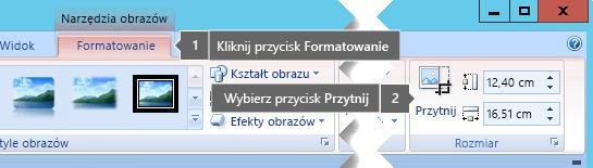 Przycisk Przytnij na karcie Narzędzia obrazów > Formatowanie