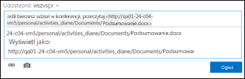 Adres URL dokumentu wklejony do wpisu w kanale aktualności