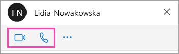 Zrzut ekranu: przyciski dźwięku i wideo w oknie rozmowy