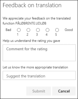 Okienko opinii o dodatku Functions Translator