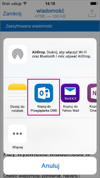 OME Viewer dla programu Outlook dla systemu iOS 3
