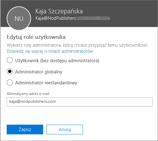 Okienko Edytuj role użytkowników, gdzie można zmieniać role użytkowników i alternatywny adres e-mail.