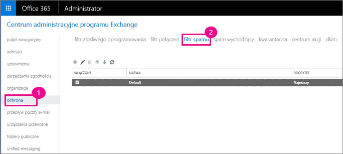 W Centrum administracyjnym programu Exchange wybierz polecenie Ochrona, a następnie filtru wiadomości-śmieci