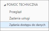 Lista wszystkich żądań dostępu do danych użytkownika