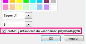 Zrzut ekranu: sekcja okna zmiany czcionki z zaznaczonym polem wyboru Zastosuj ustawienia do wiadomości przychodzących
