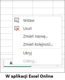 karta arkusza nie zawiera opcji Kopiuj