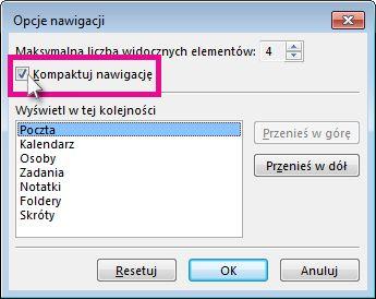 Polecenie Kompaktuj nawigację w oknie dialogowym Opcje nawigacji