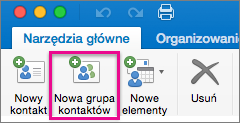Narzędzia główne > Nowa grupa kontaktów