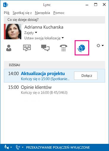 Zrzut ekranu: środowisko spotkania programu Lync