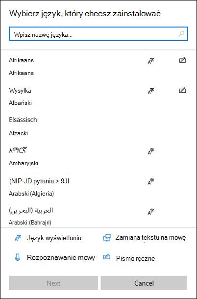 Menu Instalowanie języków