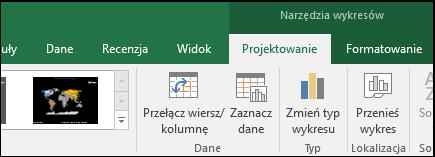 Wykres mapy w programie Excel — narzędzia na Wstążce