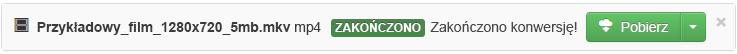 Po zakończeniu procesu konwersji zostanie wyświetlony zielony przycisk Pobierz umożliwiający skopiowanie przekonwertowanego pliku multimedialnego z powrotem na komputer
