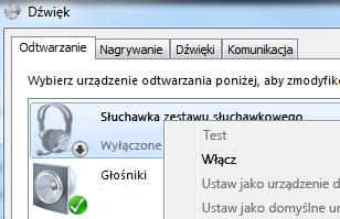 Zrzut ekranu: włączanie urządzania