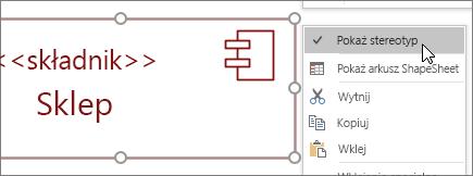 Kliknij prawym przyciskiem myszy, polecenie Pokaż stereotyp, << składnik >> Tekst etykiety