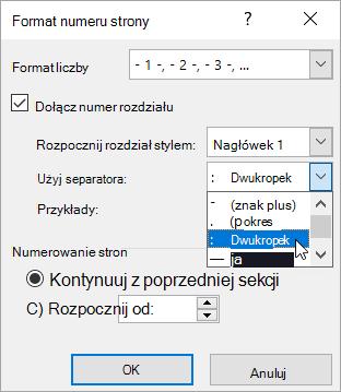 Wybieranie stylów numeracji rozdziałów