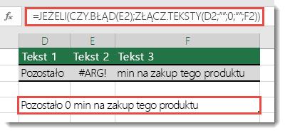 Funkcje jeżeli i czy. błąd są używane jako obejście do łączenia ciągu za pomocą #VALUE! błąd