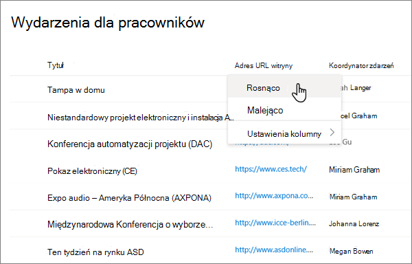 W menu nagłówka kolumny w widoku listy opcja sortowania wybrana w nowoczesnej pracy programu SharePoint