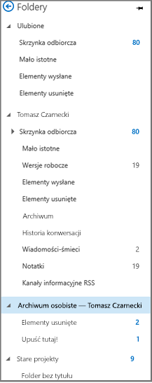"""Okienko nawigacji z programu Outlook z wyróżnioną pozycją """"Archiwum osobiste"""""""