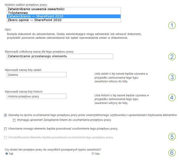 Pierwsza strona formularza skojarzenia z ponumerowanymi objaśnieniami