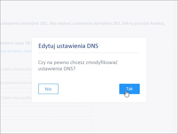 Kliknięcie przycisku Save (Zapisz) oknie dialogowym Edit DNS Settings (Edytowanie ustawień DNS)