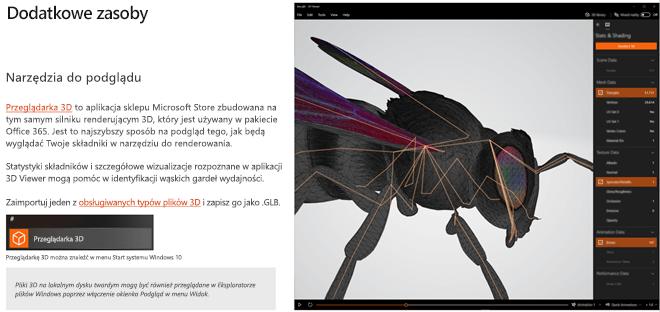 Zrzut ekranu przedstawiający sekcję dodatkowe zasoby w wytycznych dotyczących zawartości 3D