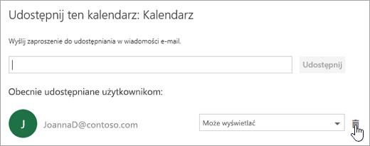 Zrzut ekranu przedstawiający okno dialogowe Udostępnij ten kalendarz.