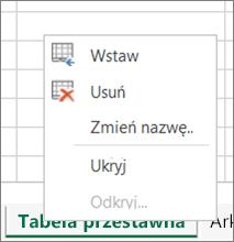 Polecenie Usuń w menu karty arkusza