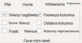 Opcje stylu tabeli w programie Word.