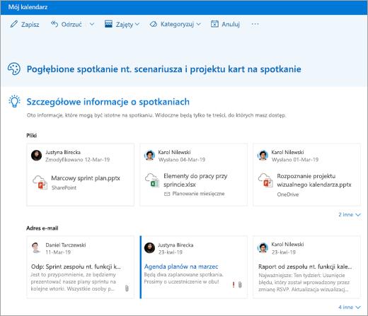 Zrzut ekranu przedstawiający szczegółowe informacje o spotkaniu