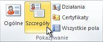 Grupa Pokazywanie na wstążce w kontakcie programu Outlook
