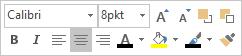 Minipasek lub minipasek narzędzi do edytowania tekstu