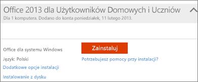 Zrzut ekranu przedstawiający pozycję Zainstaluj oraz link Dodatkowe opcje instalacji