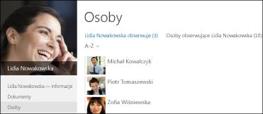 Lista osób obserwujących i osób obserwowanych w profilu współpracownika