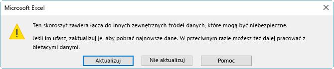 Okno dialogowe przerwanych odwołań w programie Excel