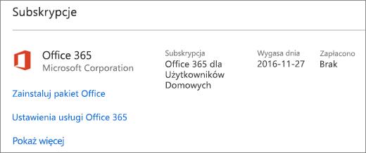 Jeśli wersja próbna usługi Office 365 została zainstalowana na nowym komputerze, wygaśnie we wskazanym dniu