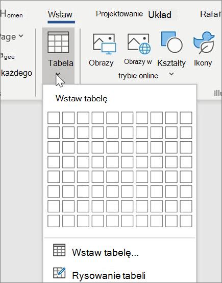 Wstawianie tabel w programie Word